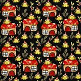 Pattern with green frogs stock image