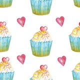 Watercolor pattern with cupcakes with pink heart royalty free illustration