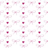 Watercolor pattern of hearts and bows on white stock illustration