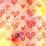 Watercolor pattern of hearts Royalty Free Stock Image