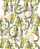 Watercolor pattern with horseshoes Stock Photos