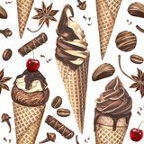 Watercolor pattern with ice cream, candies, coffee beans and spices on white background. Royalty Free Stock Photo