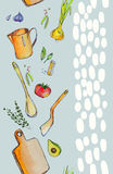 Watercolor pattern kitchen food. Handmade Stock Illustration
