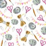 Yarn, scissors, flags, pins. vector illustration