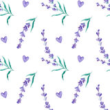 Watercolor pattern with Lavender. Hand painting. Seamless pattern for fabric, paper and other printing and web projects. stock image