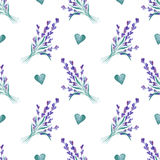 Watercolor pattern with Lavender. Hand painting. Seamless pattern for fabric, paper and other printing and web projects. stock photos