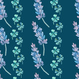 Watercolor pattern with Lavender. Lavender and clover pattern. Four leaf clover. Shamrock. Stock Photo