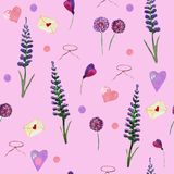 Cute seamless pattern of lavender and wildflowers royalty free illustration
