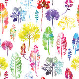 Watercolor pattern of leaves seamless texture background Stock Image