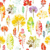 Watercolor pattern of leaves seamless texture background Stock Photos
