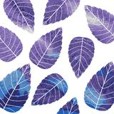 Watercolor pattern on leaves theme. Autumn pattern Royalty Free Stock Photography