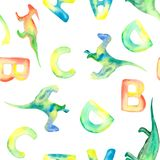 Watercolor pattern with letters and leaves vector illustration