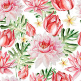 Watercolor pattern with lotus. Stock Image