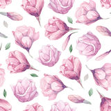 Watercolor pattern of magnolia Royalty Free Stock Photo