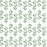 Watercolor pattern with olive branches. Stock Photos