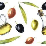 Watercolor pattern with olive oil, olives and leaves Royalty Free Stock Photo