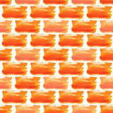 Watercolor pattern of orange bricks. Seamless web background for we texture or wrapping paper. Stock Images
