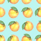 Watercolor pattern of oranges. Seamless pattern. Textile design. Handmade Royalty Free Stock Photo