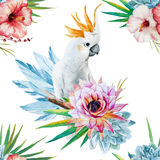 Watercolor pattern with parrot and flowers Royalty Free Stock Images