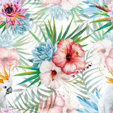 Watercolor pattern with parrot and flowers stock illustration