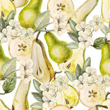 Watercolor Pattern with pears and flowers Stock Photo