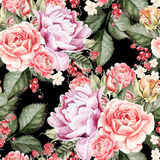 Watercolor pattern with peony flowers, roses and berry. Royalty Free Stock Photos