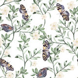 Watercolor pattern with plants and butterflies. Royalty Free Stock Photos