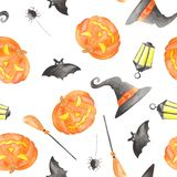 Watercolor pattern for halloween with pumpkin. stock illustration