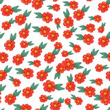 Watercolor pattern with red flowers and some floral elements. Stock Images