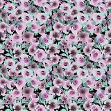 Watercolor pattern with rose abstract flowers stock illustration