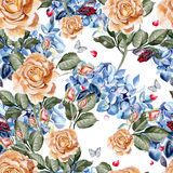 Watercolor pattern with rose and hydrangea. Royalty Free Stock Photos