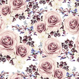 Watercolor pattern with roses and berries, currants Royalty Free Stock Image