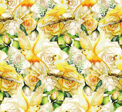 Watercolor pattern with roses and canaries. Watercolor yellow roses and canaries. Seamless floral pattern Royalty Free Stock Images