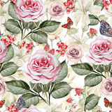 Watercolor pattern with roses and currants. Royalty Free Stock Photography