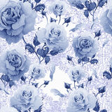 Watercolor pattern with roses and lace patterns. Illustration royalty free stock photos