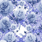 Watercolor pattern with roses and lace patterns. Stock Photo