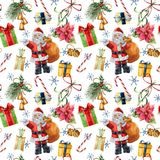 Watercolor pattern with Santa Claus and Christmas traditional decor. Hand painted giftbox with bow, candy, bells Royalty Free Stock Images