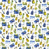 Watercolor music pattern. Seamless background with musical instruments. royalty free illustration