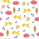 Watercolor pattern of seashells and aquarium fish on a white background. Sea life stock illustration