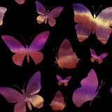 Watercolor pattern with silhouette of butterfly. Hand painted insect collection isolated on black background Stock Images