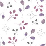 Watercolor pattern with silver, green, purple, violet leaves and branches on a white background. Ideal for cards and invitations. vector illustration