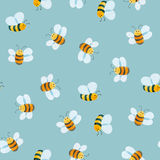 Watercolor pattern of smiling bee Stock Photo