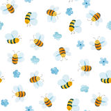 Watercolor pattern of smiling bee Royalty Free Stock Photo