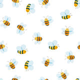 Watercolor pattern of smiling bee Stock Photos