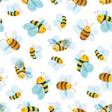 Watercolor pattern of smiling bee Royalty Free Stock Images