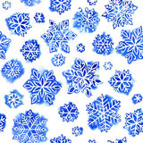 Watercolor pattern snowflakes Royalty Free Stock Images