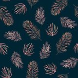 Watercolor pattern of spruce branches. Watercolor seamless pattern with spruce branches on a dark background. Fabric design Stock Photo
