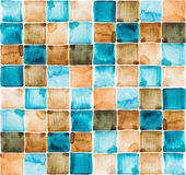 Watercolor pattern of squares. Watercolor seamless texture of brown and blue squares Stock Photography