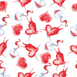 Watercolor pattern to the day of lovers Royalty Free Stock Images