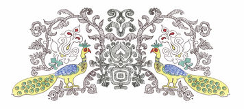 Watercolor pattern with tropical peacock birds and flowers Stock Image